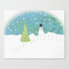 Snowman on Christmas Day Canvas Print
