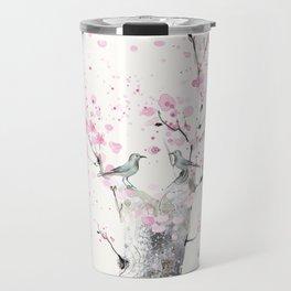 Cherry Blossoms And Birds Travel Mug