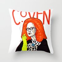 coven Throw Pillows featuring WE PROTECTED THE COVEN by Robert Red ART