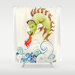 A happy dragon Shower Curtain
