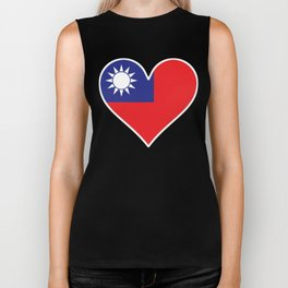 Taiwanese Flag Heart Biker Tank