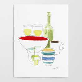Bowls and Glasses Poster