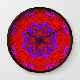 Red Lace on Purple Wall Clock