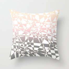 Iridescent, pink to gray, delicate geometric shapes pattern Throw Pillow