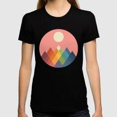 Rainbow Peak Black MEDIUM Womens Fitted Tee