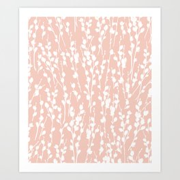 Pussywillow Silhouette — Blush Art Print