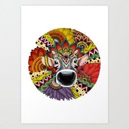TRIBAL COW Art Print