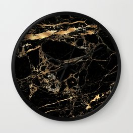 Marble, Black + Gold Veins Wall Clock