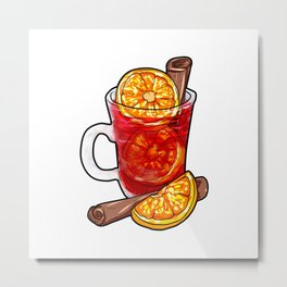Mulled Wine Cartoon Gift Present Orange Juice cinamon cinnamon Metal Print