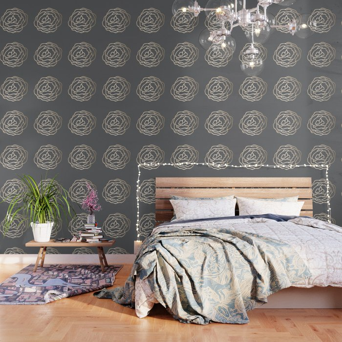 Rose White Gold Sands on Storm Gray Wallpaper