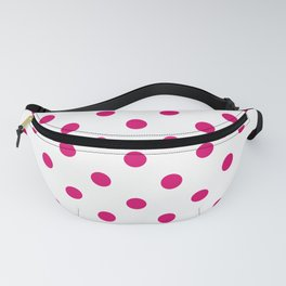 Extra Large Dark Hot Pink Polka Dots on White Fanny Pack