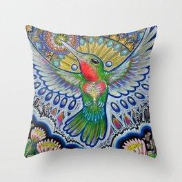 Hummingbird & Cactus - Beija Flor III Throw Pillow