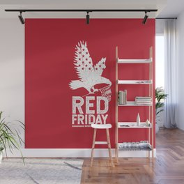 Red Friday Remember Deployed Eagle Wall Mural
