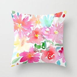 Blooming bouquet #2 || watercolor Throw Pillow