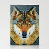 polygon Stationery Cards featuring polygon wolf by Ancello