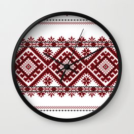 Traditional romanian motif Wall Clock