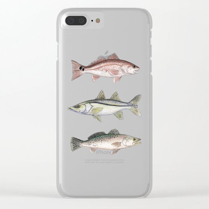 """""""Inshore Slam!"""" by Amber Marine ~ Redfish, Snook, & Trout Watercolor Illustration, (Copyright 2013) Clear iPhone Case"""