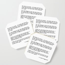 For what it's worth - F Scott Fitzgerald quote Coaster