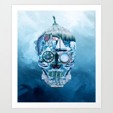 Skull Ocean Blue Art Print
