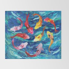 Koi fish rainbow abstract paintings Throw Blanket