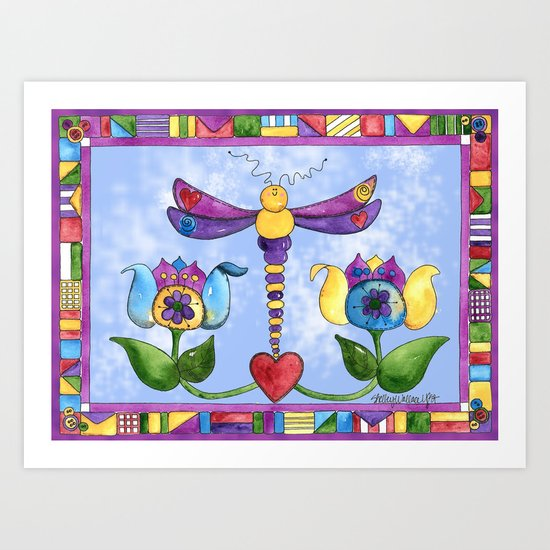 Dragonfly Love with Border Art Print