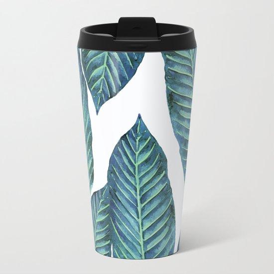 Blue Banana Leaves #society6 Metal Travel Mug
