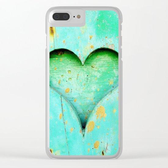 Blue Peeling Paint Wood Heart Clear iPhone Case