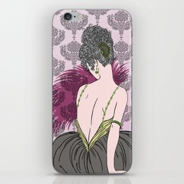Art Deco Lady with Damask - BIANCA: Tea Time iPhone Skin