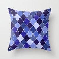 morocco Throw Pillows featuring Morocco Blue by Jacqueline Maldonado