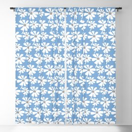 Daisies In The Summer Breeze - Blue Grey White Blackout Curtain