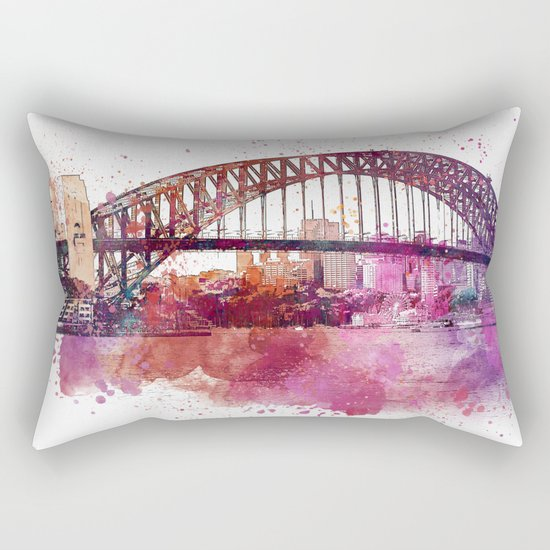 Sydney Harbor Bridge Watercolor Art Rectangular Pillow