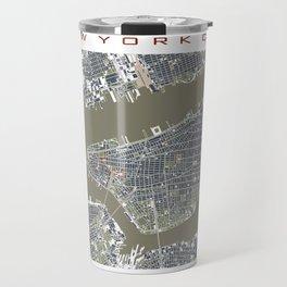 New York city map engraving liberty Travel Mug