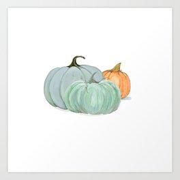 Colorful pumpkin trio Art Print