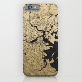 Boston Black and Gold Map iPhone Case