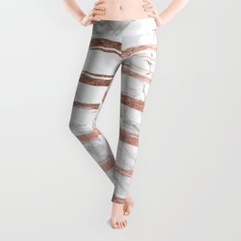 Modern chic faux rose gold brush stripes white marble Leggings