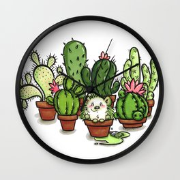 Green - Cactus and Hedgehog Wall Clock