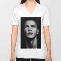 james franco V-neck T-shirts featuring James Franco by Emma Porter