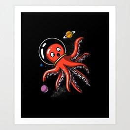 Ocean Octopus Space Astronaut Art Print