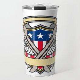 Crossed Wrench Army Wings American Flag Shield Travel Mug