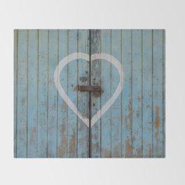 Rustic Blue Heart Throw Blanket