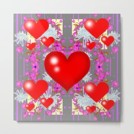 Red Hearts Valentines & Grey-Purple Art Patterns Metal Print