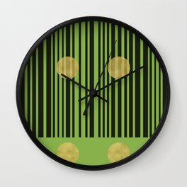 Greenery Stripes with Gold Dots Wall Clock