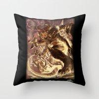 diablo Throw Pillows featuring Diablo by daniel_b_demented