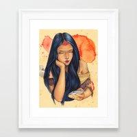 pocahontas Framed Art Prints featuring Pocahontas by Bárbara  Kramer