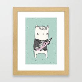 Keytar Cat Framed Art Print