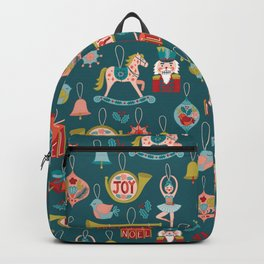 Teal Christmas Ornament Pattern Backpack