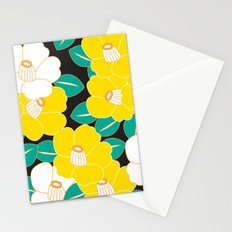 Japanese Style Camellia - Yellow and Black Stationery Cards