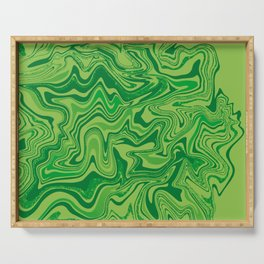 Green Agate Liquid Marble Serving Tray