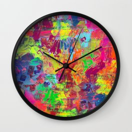 Colorful Abstract Relief Impaso Textured Painting - Detail after my artwork Dischromy 10 Wall Clock
