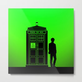 Tardis With The Eleventh Doctor Metal Print
